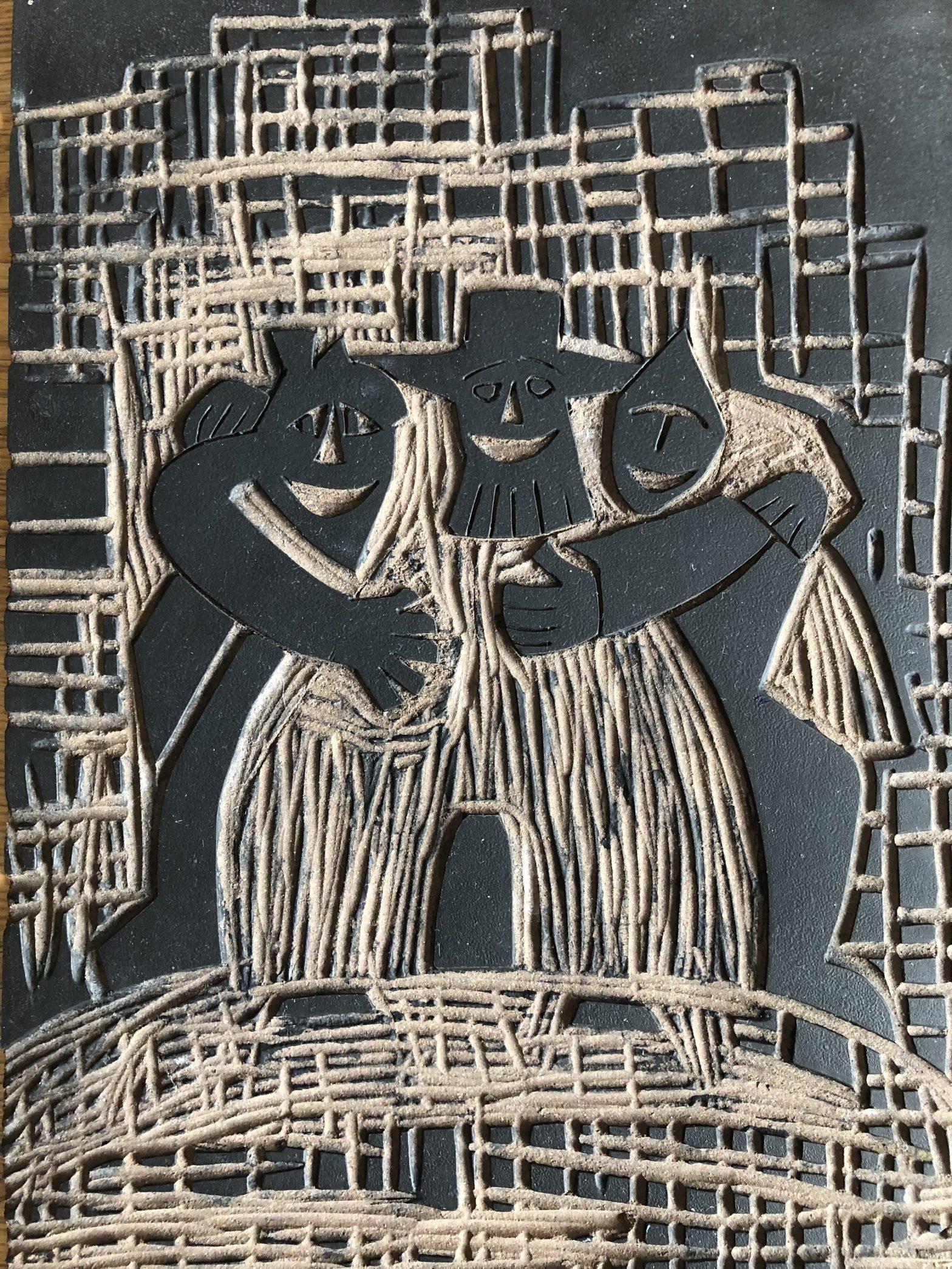 Drei kommen über einen Berg (Linoldruckplatte) © Diethard Sohn